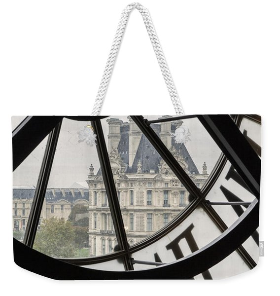 Weekender Tote Bag featuring the photograph Paris Clock by Brian Jannsen
