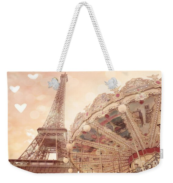 Paris Dreamy Eiffel Tower And Carousel With Hearts - Paris Sepia Eiffel Tower And Carousel Photo Weekender Tote Bag