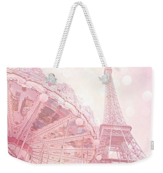 Paris Dreamy Pink Carousel And Eiffel Tower - Eiffel Tower Carousel - Paris Baby Girl Nursery Room Weekender Tote Bag