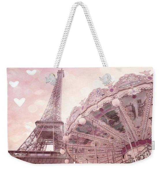 Paris Eiffel Tower Carousel Merry Go Round With Hearts - Eiffel Tower Carousel Baby Girl Nursery Art Weekender Tote Bag