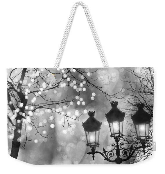 Paris Christmas Sparkle Lights Street Lanterns - Paris Holiday Street Lamps Black And White Lights Weekender Tote Bag
