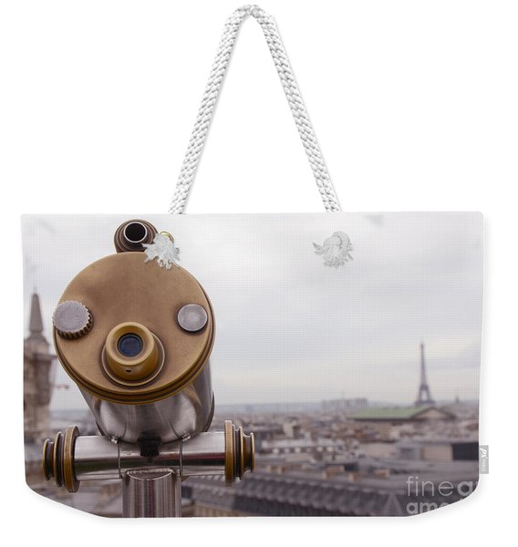 Paris Rooftops Telescope View Of Eiffel Tower - Paris Telescope Rooftop Eiffel Tower View Weekender Tote Bag