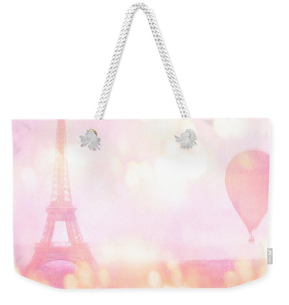 Paris Shabby Chic Romantic Dreamy Pink Eiffel Tower With Hot Air Balloon Weekender Tote Bag