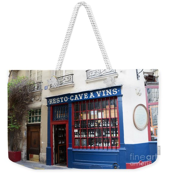 Paris Wine Shop Resto Cave A Vins - Paris Street Architecture Photography Weekender Tote Bag