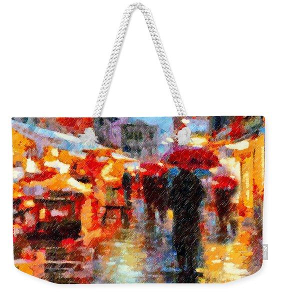 Parisian Rain Walk Abstract Realism Weekender Tote Bag