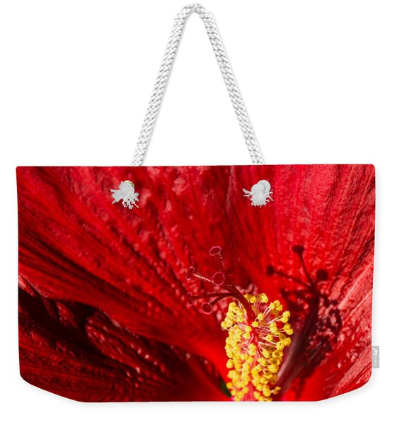 Passionate Ruby Red Silk Weekender Tote Bag