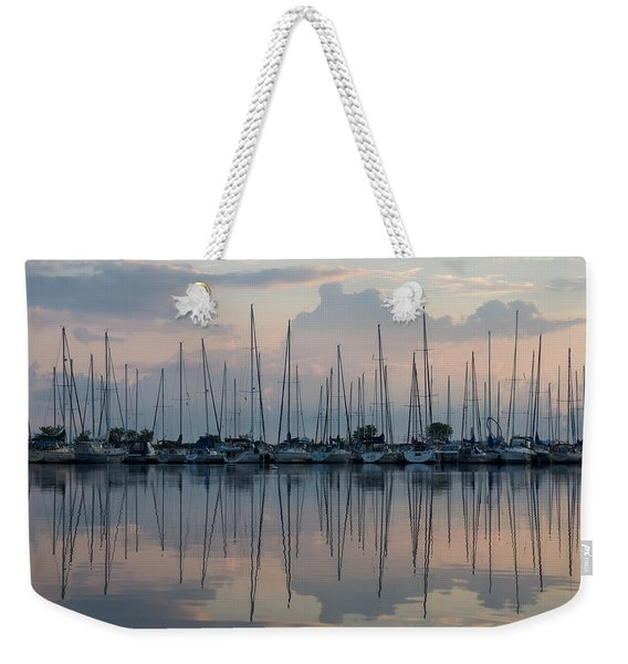 Pastel Sailboats Reflections At Dusk Weekender Tote Bag