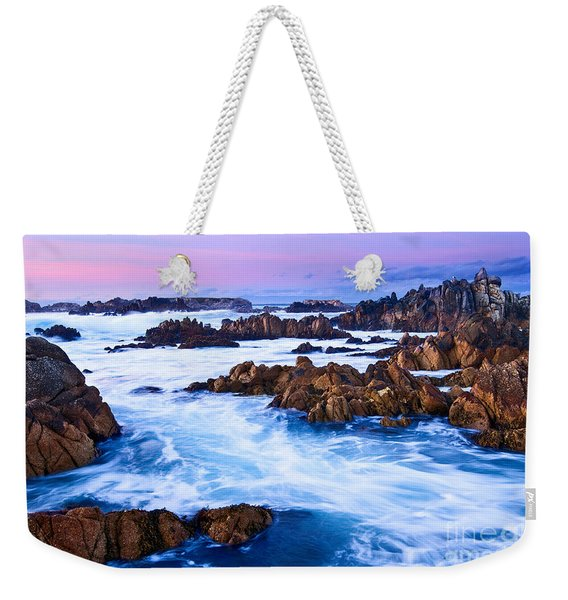 Pastel Tides - Rocky Asilomar Beach In Monterey Bay At Sunset. Weekender Tote Bag
