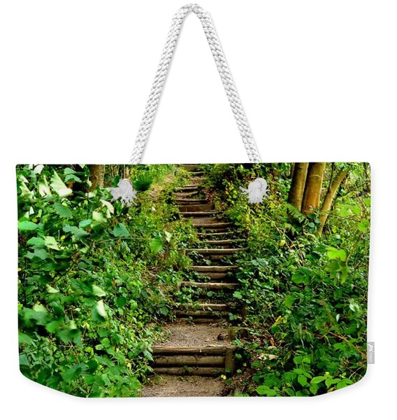 Weekender Tote Bag featuring the photograph Path Into The Forest by Scott Lyons