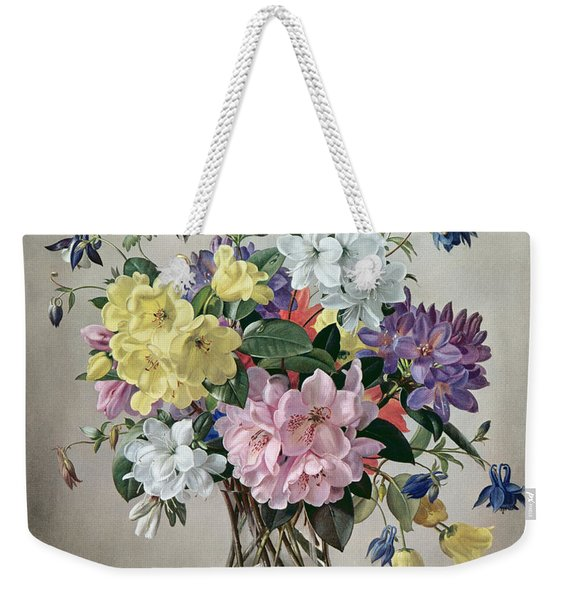 Rhododendrons, Azaleas And Columbine In A Glass Vase Weekender Tote Bag