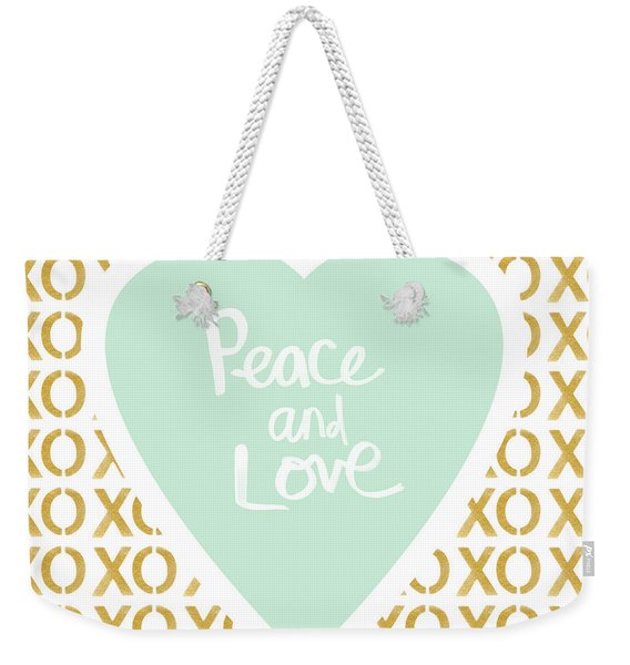 Peace And Love In Aqua And Gold Weekender Tote Bag