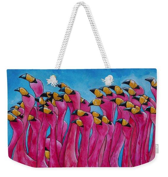 Peace Love And Flamingos Weekender Tote Bag