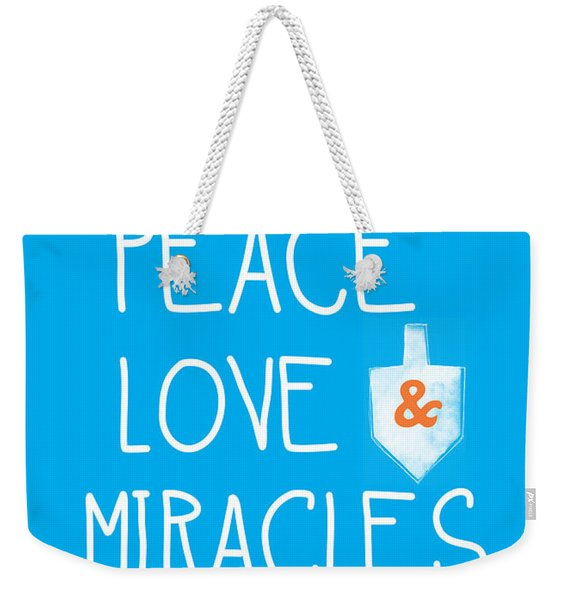 Peace Love And Miracles With Dreidel  Weekender Tote Bag