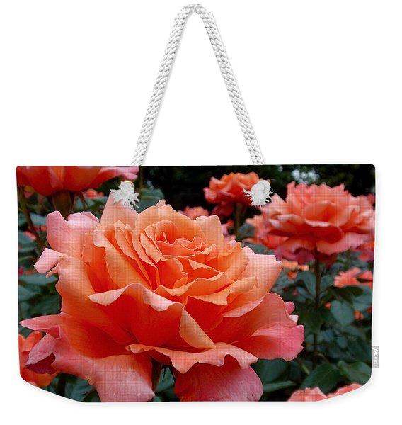 Peach Roses Weekender Tote Bag