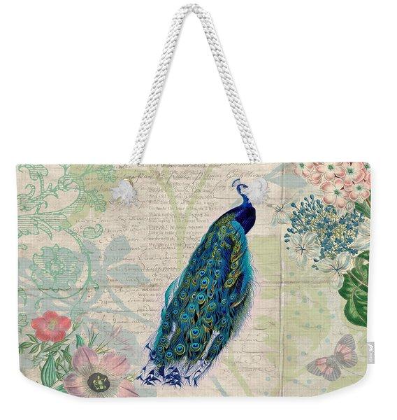 Peacock And Botanical Art Weekender Tote Bag