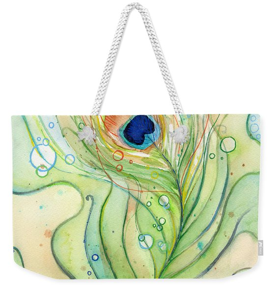 Peacock Feather Watercolor Weekender Tote Bag