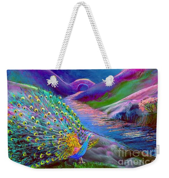 Peacock Magic Weekender Tote Bag