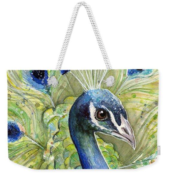 Peacock Watercolor Portrait Weekender Tote Bag