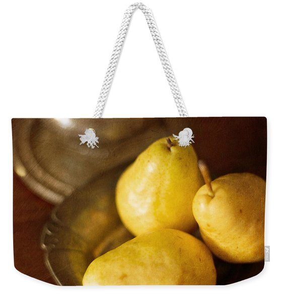 Pears And Great Grandpa's Silver Weekender Tote Bag