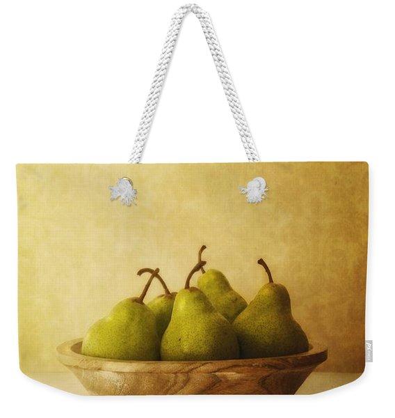 Pears In A Wooden Bowl Weekender Tote Bag