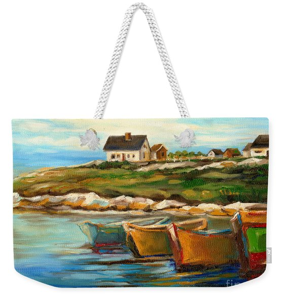 Peggys Cove With Fishing Boats Weekender Tote Bag