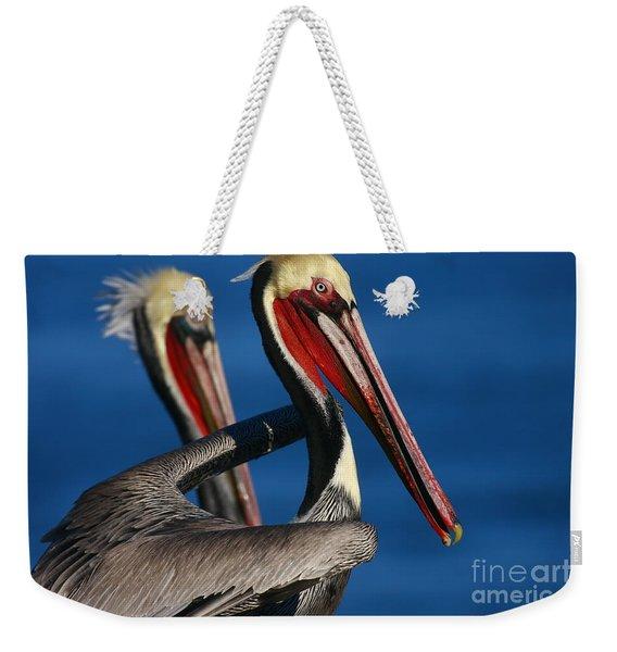 California Pelicans In Waves Weekender Tote Bag