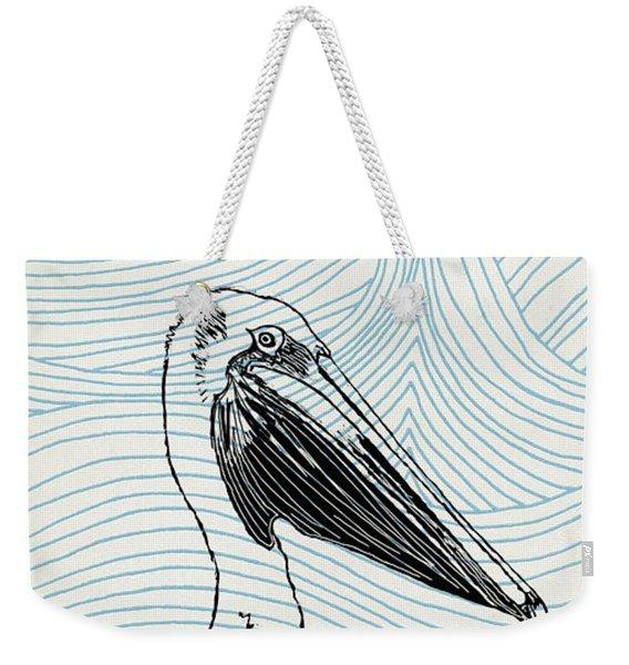 Pelican On Waves Weekender Tote Bag