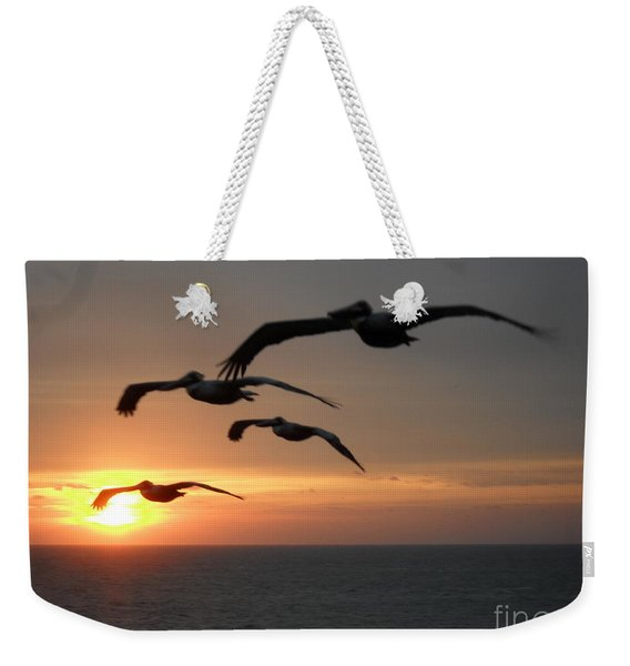 Weekender Tote Bag featuring the photograph Pelican Sun Up by Laurie Lundquist