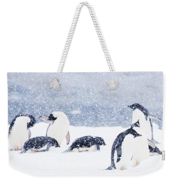 Penguins In The Snow Weekender Tote Bag