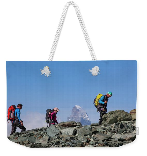 People Trekking With The Matterhorn Weekender Tote Bag