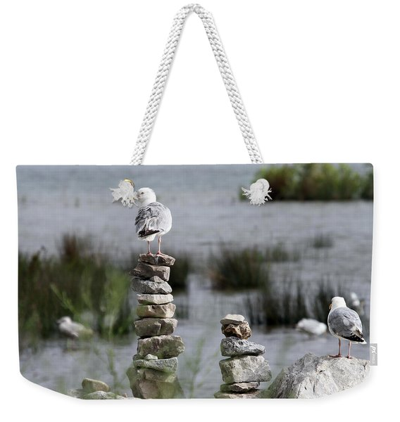Perched On A Rock Cairn Weekender Tote Bag