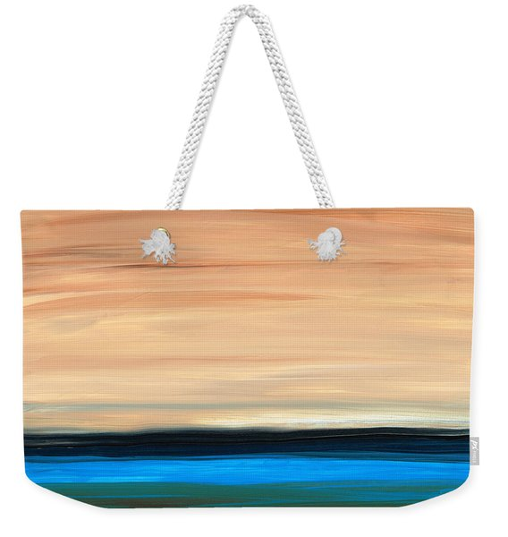 Perfect Calm - Abstract Earth Tone Landscape Blue Weekender Tote Bag