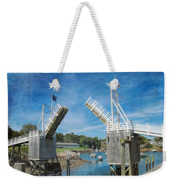 Weekender Tote Bag featuring the photograph Perkins Cove Drawbridge Textured by Jemmy Archer