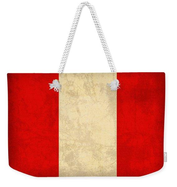 Peru Flag Vintage Distressed Finish Weekender Tote Bag
