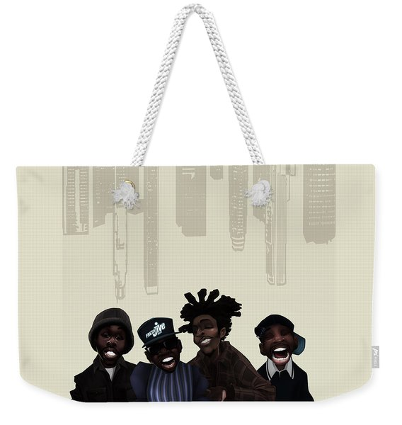 Weekender Tote Bag featuring the digital art Pharcyde -passing Me By 1 by Nelson dedos Garcia
