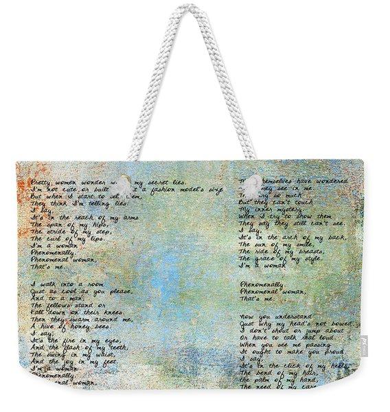Phenomenal Woman - Blue Rustic Weekender Tote Bag