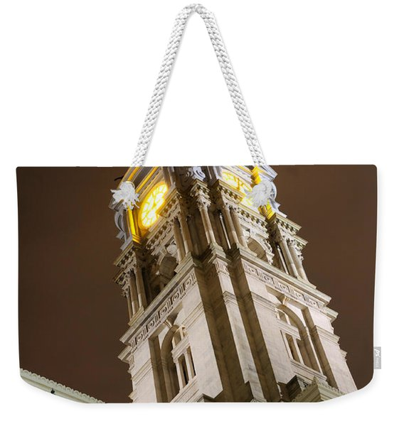 Philadelphia City Hall Clock Tower At Night Weekender Tote Bag