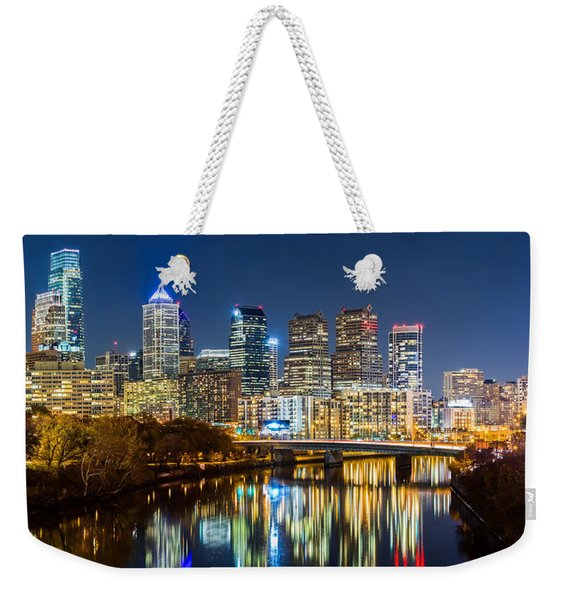 Weekender Tote Bag featuring the photograph Philadelphia Cityscape Panorama By Night by Mihai Andritoiu
