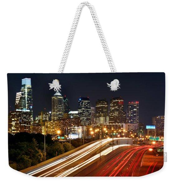 Philadelphia Skyline At Night In Color Car Light Trails Weekender Tote Bag