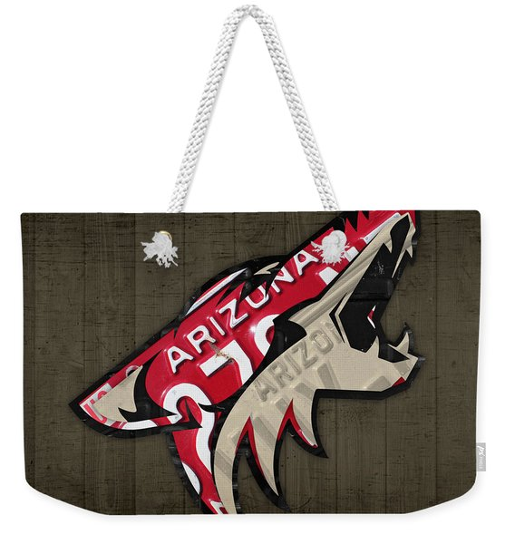 Phoenix Coyotes Retro Hockey Team Logo Recycled Arizona License Plate Art Weekender Tote Bag