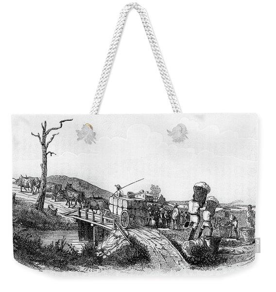 Picking Cotton Hauling Cotton Bales Weekender Tote Bag