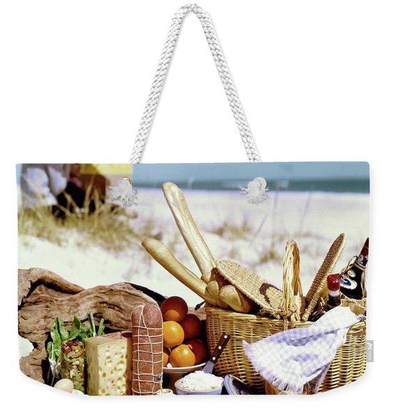 Picnic Display On The Beach Weekender Tote Bag