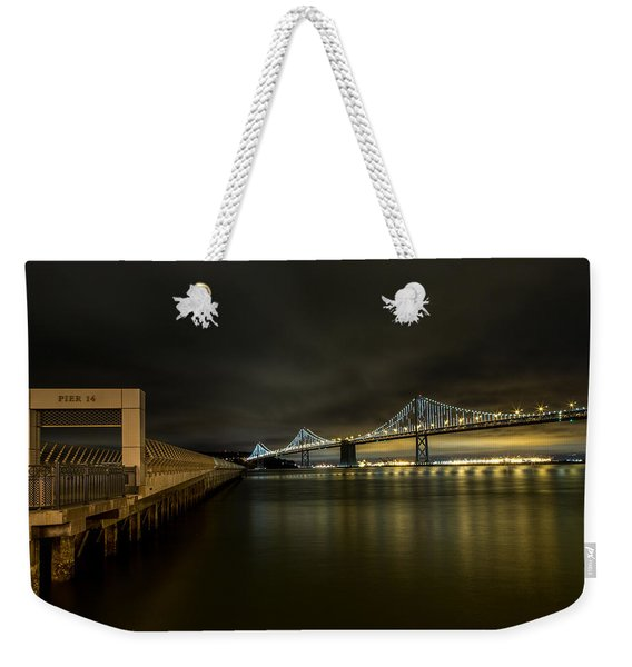 Pier 14 And Bay Bridge At Night Weekender Tote Bag