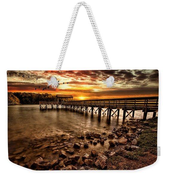Pier At Smith Mountain Lake Weekender Tote Bag