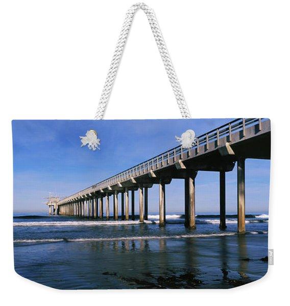 Pier In The Pacific Ocean, Scripps Weekender Tote Bag