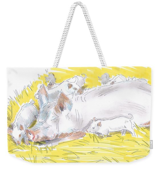 Pig Sow And Piglets Weekender Tote Bag