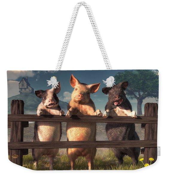 Pigs On A Fence Weekender Tote Bag