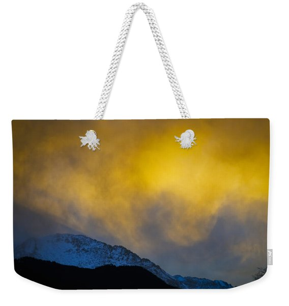 Pike's Peak Snow At Sunset Weekender Tote Bag