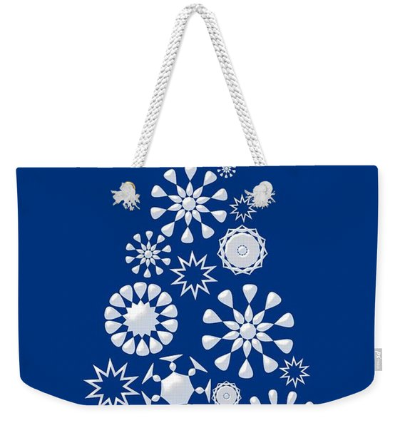 Pine Tree Snowflakes - Dark Blue Weekender Tote Bag
