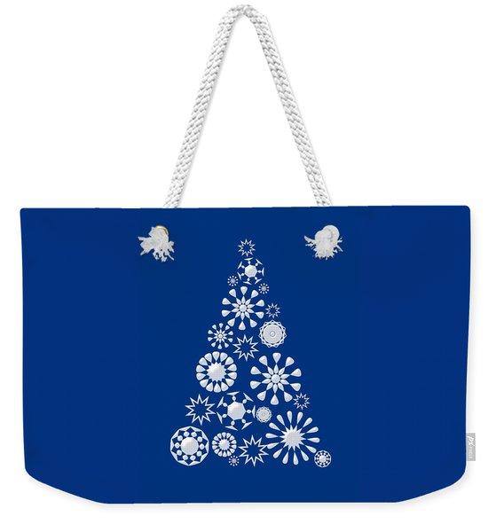 Pine Tree Snowflakes - Dark Blue Weekender Tote Bag